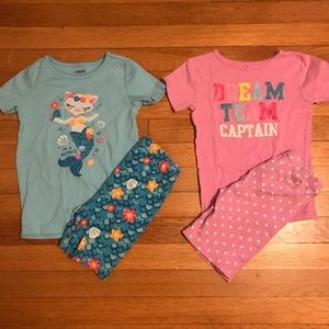 2 pairs of girl's summer pj's size 6